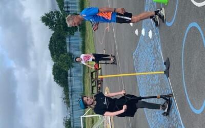 Y5/6 children work on their cycling skills with Phil Bateman